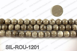 Silver leaf jasper beads 12mm SIL-ROU-1201