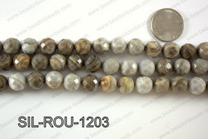 Silver Leaf Jasper round faceted beads 12mm  SIL-ROU-1203