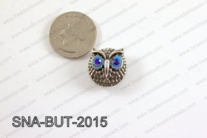 snap button 20 mm blue owl  SNA-BUT-2015