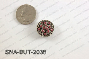 snap button 20 mm pink flower round SNA-BUT-2038