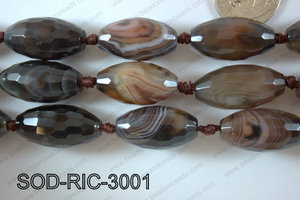 Sardonyx Rice Faceted 15x30mm SOD-RIC-3001