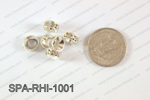 Rhinestone Spacers silver/clear 10mm SPA-RHI-1001