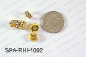 Rhinestone Spacers Gold/clear 10mm SPA-RHI-1002