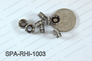 Rhinestone Spacers gunmental/clear 10mm SPA-RHI-1003