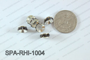 Rhinestone Spacers silver/black 10mm SPA-RHI-1004
