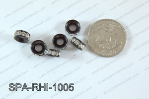 Rhinestone Spacers Black/clear 10mm SPA-RHI-1005