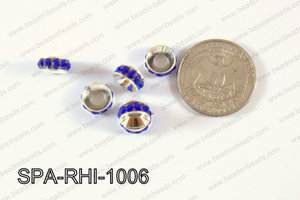 Rhinestone Spacers Silver/dark blue 10mm SPA-RHI-1006