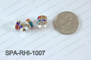 Rhinestone Spacers silver/multi 10mm SPA-RHI-1007
