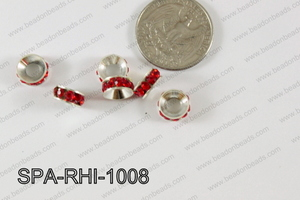 Rhinestone Spacers  silver/red 10mm SPA-RHI-1008