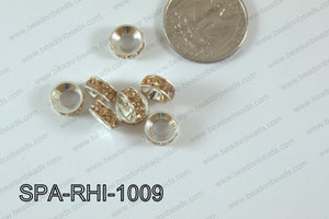 Rhinestone Spacers silver/beige 10mm SPA-RHI-1009