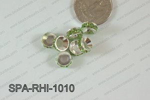Rhinestone Spacers 10mm silver/green SPA-RHI-1010