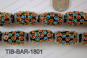 Tibetan Style Beads Barrel 18x32mm TIB-BAR-1801