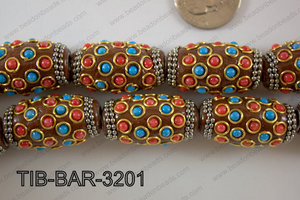 Tibetan Style Barrel 18x32mm TIB-BAR-3201
