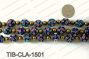 Tibetan style clay copper beads 15mm, Navy TIB-CLA-1501