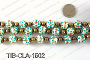 Tibetan style clay copper beads 15mm, White TIB-CLA-1502
