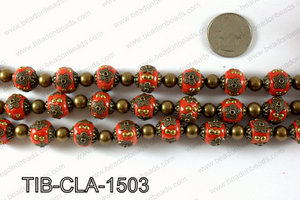 Tibetan style clay copper beads 15mm, Red TIB-CLA-1503