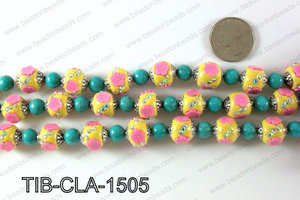 Tibetan style clay copper beads 15mm, Yellow TIB-CLA-1505