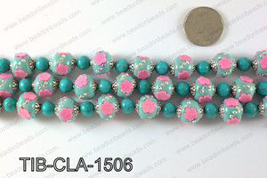 Tibetan style clay copper beads 15mm, Blue TIB-CLA-1506