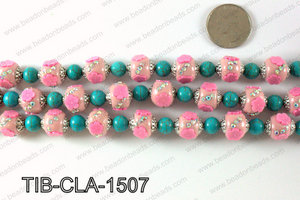 Tibetan style clay copper beads 15mm, Pink TIB-CLA-1507