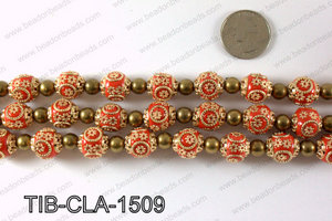 Tibetan style clay copper beads 15mm, Red TIB-CLA-1509