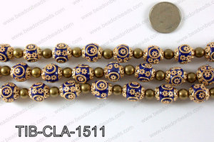 Tibetan style clay copper beads 15mm, Royal blue TIB-CLA-1511