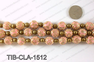 Tibetan style clay copper beads 15mm, Pink TIB-CLA-1512