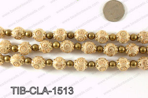 Tibetan style clay copper beads 15mm, Beige TIB-CLA-1513
