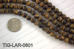 Large hole tiger eye matte round 8mm TIG-LAR-0801