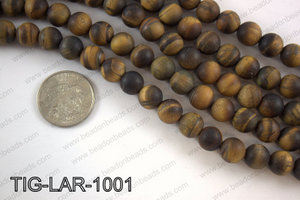 Large hole tiger eye matte round 10mm TIG-LAR-1001