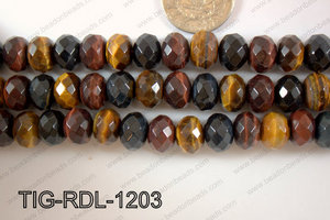 Tiger eye Rondel Faceted 12mm TIG-RDL-1203