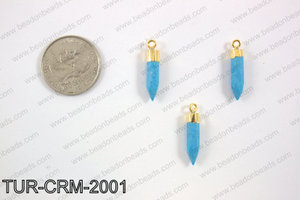 Magnesite Charm with gold top, 5x22mm TUR-CRM-2001