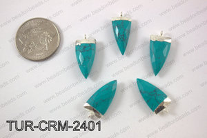 Stabilized turquoise horn charm 10x24mmTUR-CRM-2401