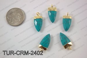 Stabilized turquoise horn charm 10x24mmTUR-CRM-2402
