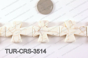 howlite cross 35x30mm white TUR-CRS-3514