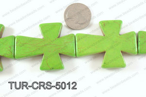 howlite cross 40x50mm green TUR-CRS-5012