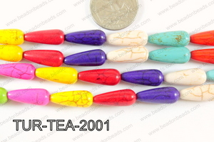 Howlite Teardrop Multi color 8x20mm TUR-TEA-2001