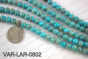 Large hole variscite round 8 mm VAR-LAR-0802