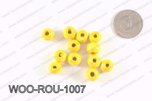 Round Wood Beads Yellow 10mm WOO-ROU-1007