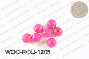 Woven Round Wood Beads Hot Pink 12mm WOO-ROU-1205