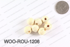 Woven Round Wood Beads Cream 12mm WOO-ROU-1206
