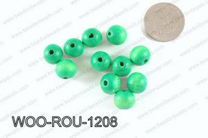 Round Wood Beads Green 12mm WOO-ROU-1208