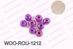 Round Wood Beads Purple 12mm WOO-ROU-1212