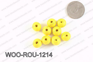 Round Wood Beads Yellow 12mm WOO-ROU-1214