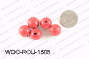 Round Wood Beads Red 15mm WOO-ROU-1506