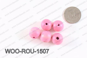 Round Wood Beads Light Pink 15mm WOO-ROU-1507
