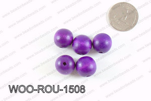 Round Wood Beads Purple 15mm WOO-ROU-1508