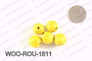 Round Wood Beads Yellow 15mm WOO-ROU-1511