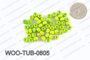 Tube Wood Beads Green 6x4mm WOO-TUB-0605