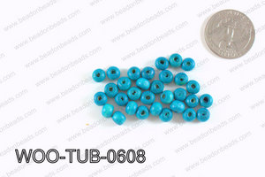 Tube Wood Beads Turquoise 6x4mm WOO-TUB-0608