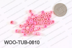 Tube Wood Beads Light Pink 6x4mm WOO-TUB-0610